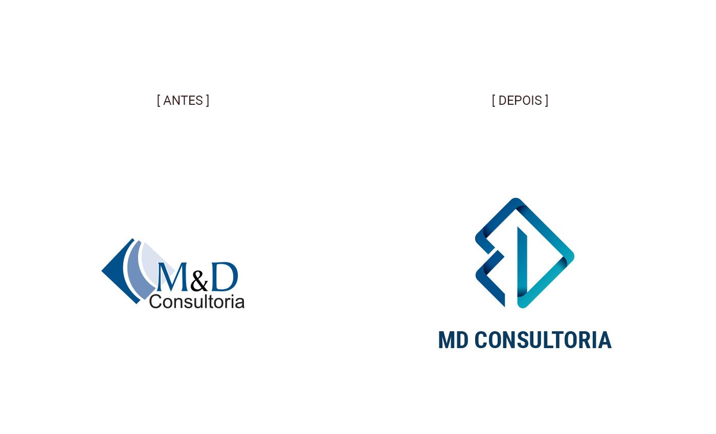 Antes e Depois - Rebrand identity MD Consultoria